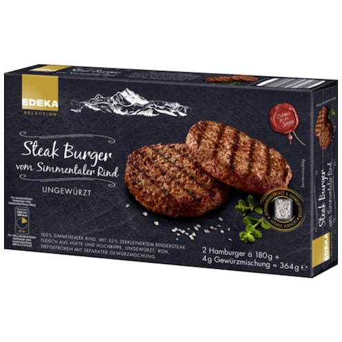 EDEKA SELECTION Steak Burger vom Simmentaler Rind 364 g