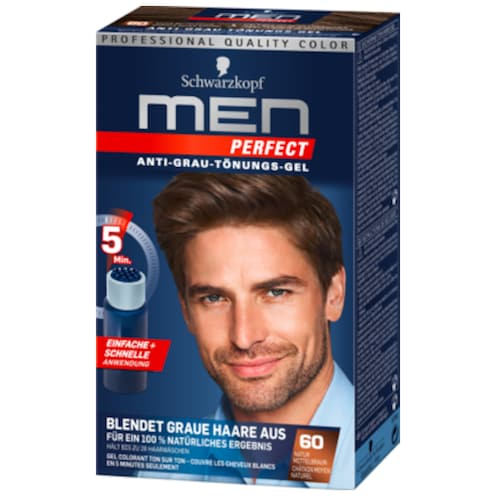 Schwarzkopf Men Perfect Anti-Grau-Tönungs-Gel 60 Natur Mittelbraun 80 ml