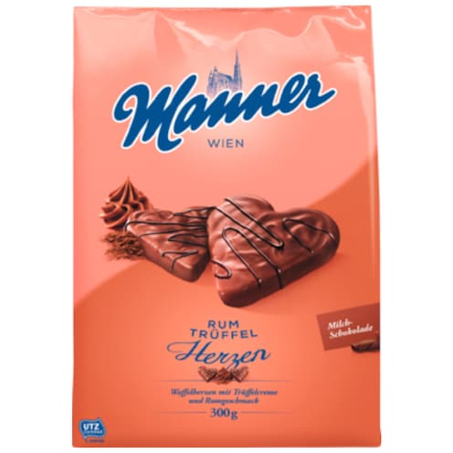 Manner Rum Trüffel Herzen 300 g