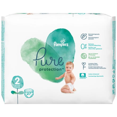 Pampers Pure Protection Mini Windeln Gr.2 4-8kg Tragepack 27 Stück