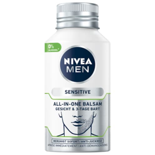 NIVEA MEN After Shave Balsam Sensitive All-in-One Gesicht & 3-Tage Bart 125 ml