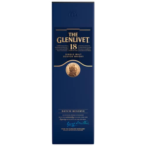 THE GLENLIVET Single Malt Scotch Whisky 18 Jahre 43 % vol. 0,7 l