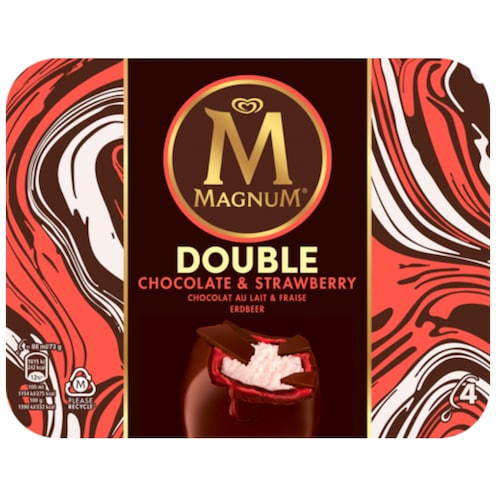 MAGNUM Double Chocolate & Strawberry Familienpackung 4 Stück