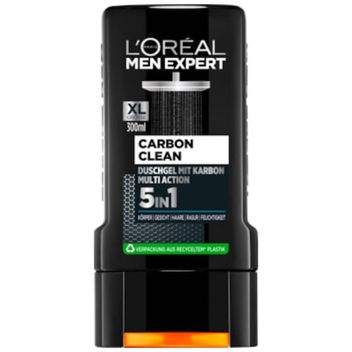 L'ORÉAL MEN EXPERT Carbon Clean Duschgel mit Karbon Multi Action 5 in 1 300 ml